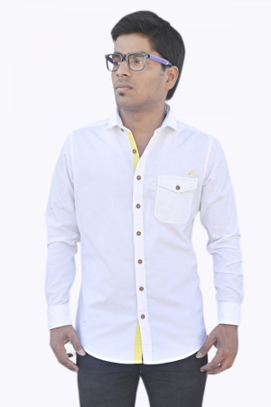 Apris Full Sleeve Corduroy shirt S3035_WHITE