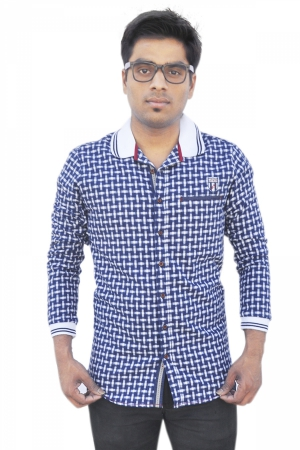 Apris Full Sleeve Brushed Checkerd Shirt. S3036_NAVY