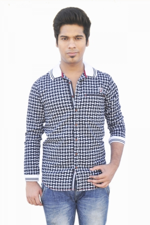 Apris Full Sleeve Brushed Checkerd Shirt. S3036_BLACK