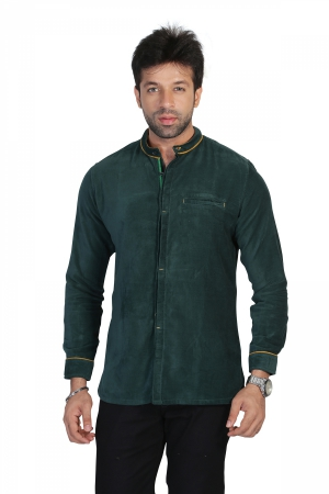 Apris Mens Full Sleeve Velveteen Casual Shirt S3040_OLIVE