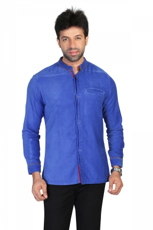 Apris Mens Full Sleeve Velveteen Casual Shirt S3040_R.BLUE