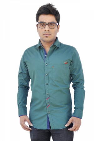 Apris Dobby Weave Solid Full Sleeve Shirt S3042_OLIVE
