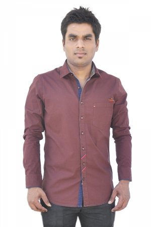 Apris Dobby Weave Solid Full Sleeve Shirt S3042_COFFEE