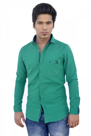 Apris Fine Count Twill  Weave Solid Full Sleeve Shirt. S3043_GREEN