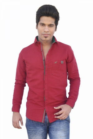 Apris Fine Count Twill  Weave Solid Full Sleeve Shirt. S3043_RED