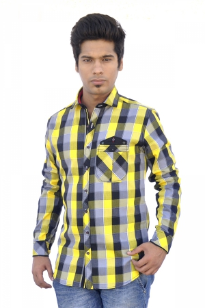 Apris Mens Full Sleeve Chekered Shirt. S3046_YELLOW