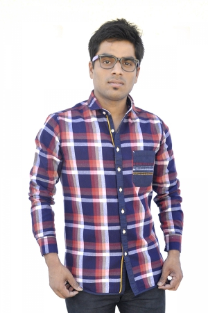 Apris Trendy Red Coloured Checkered Shirt S3047_RED