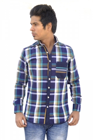 Apris Trendy Green Coloured Checkered Shirt S3047_GREEN
