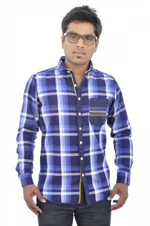 Apris Trendy Navy Coloured Checkered Shirt S3047_NAVY