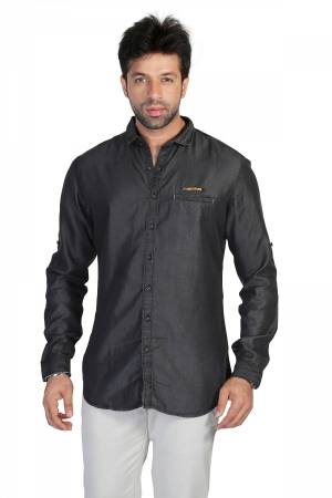 Apris Mens  Fine count Denim Full Sleeve Casual Shirt   S3114_BLACK