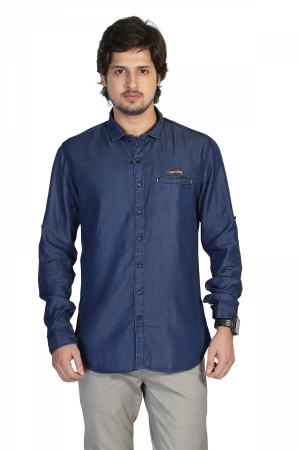 Apris Mens  Fine count Denim Full Sleeve Casual Shirt   S3114_BLUE