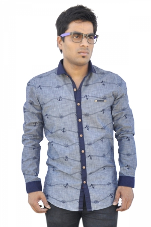 Apris Denim Printed Mens Full Sleeve Casual Shirt S3125_GREY