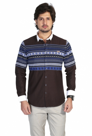 Apris Mens Full Sleeve Casual Shirt with Engineered Stripe on Front and Back Panel. S3127_BROWN