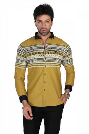 Apris Mens Full Sleeve Casual Shirt with Engineered Stripe on Front and Back Panel. S3127_CAMEL