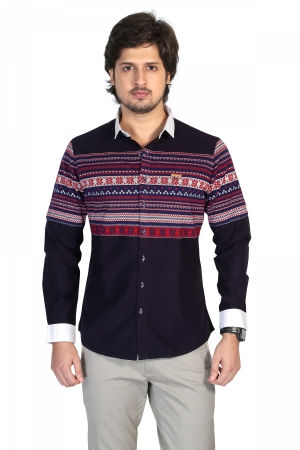 Apris Mens Full Sleeve Casual Shirt with Engineered Stripe on Front and Back Panel. S3127_PURPLE