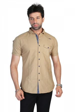 Apris Mens Half Sleeve Casual Solid Style Shirt. S3132_FAWN
