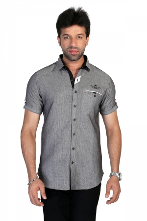 Apris Mens Half Sleeve Shirt with Contrast Look.  S3137_BLACK