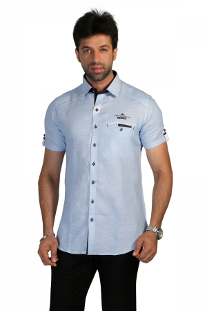 Apris Mens Half Sleeve Shirt with Contrast Look.  S3137_SKY
