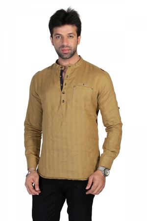 Apris Mens Full Sleeve Shirt with Kurta Style Look . S3138_KHAKHI