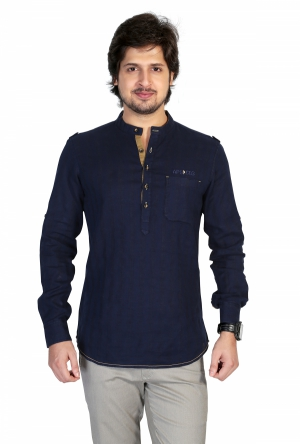 Apris Mens Full Sleeve Shirt with Kurta Style Look . S3138_NAVY