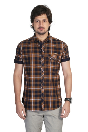 Apris Mens  Full Sleeve Shirt Checks Casual Shirt. S3141_KHAKHI