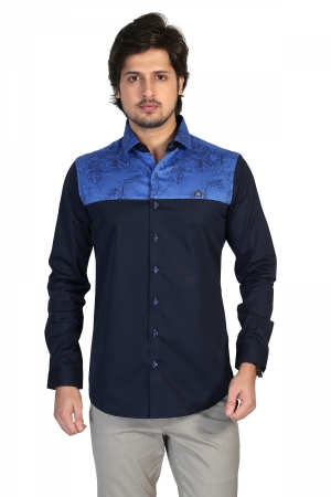 Apris Mens Full Sleeve Shirt  with Combination of Printed Panels.  S3143_BLUE