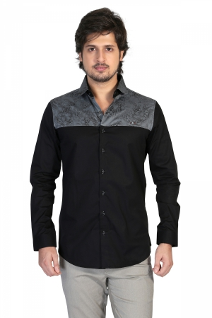 Apris Mens Full Sleeve Shirt  with Combination of Printed Panels.  S3143_GREY