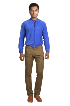 Apris Mens Cotton Stretched Trousers With Contrast Detailing On Pockets A-6401_KHAKHI