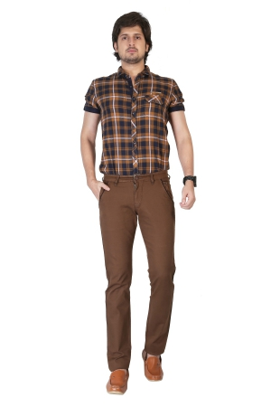Apris Mens Cotton Stretched Trousers With Contrast Detailing On Pockets A-6401_M.BROWN