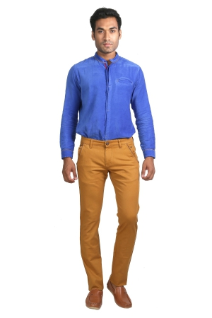 Apris Mens Cotton Stretched Trousers With Contrast Detailing On Pockets A-6401_MUSTARD