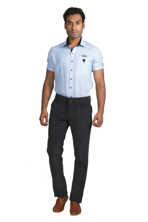 Aporis Mens Cotton Stretched With Sheen Look With Reviting On Front Pocket A-6403_NAVY
