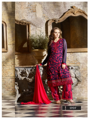 Thankar Latest Designer Heavy Blue And Pink Embroidery Straight Suit TAS161-1707