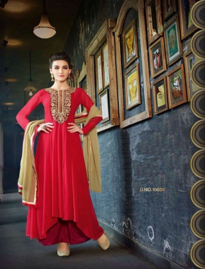 Thankar New Western Style Designer Red Embroidery Anarkali Suit TAS170-10039