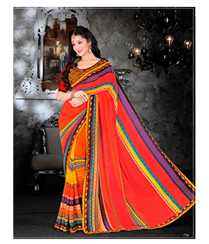 Ajashopping Multicolour Georgette Heavy Embroidery Saree With Blouse Piece 774