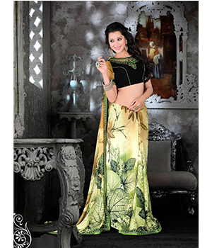 Ajashopping Chickoo And Green Color Georgette Party Wear Embroidered Saree With Blouse Piece 775
