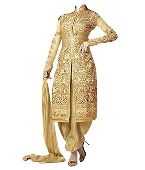 Letest Gold Heavy Embroidred Salwar Suit uf723633