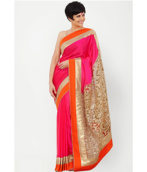 Jomso Pink Net Brasso And Chiffone Georgette Sarees With Blouse JOM285M5