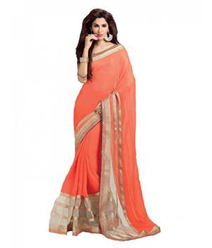 Jomso Orange Silky Georgette Net And 60Gm Georgette Sarees With Blouse JOM285M6