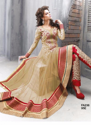 Fabfirki New Designer Cream And Red Anarkali Salwar Suit FA238-95E