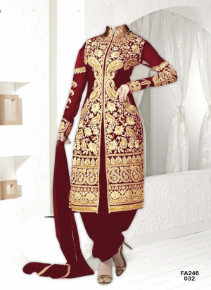 New Exclusive Heavy Designer Maroon Gorgeous Salwar Suits FA246-032
