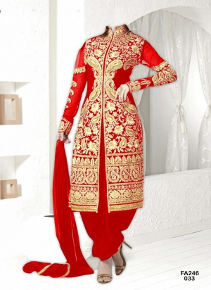 New Exclusive Heavy Designer Light Red Gorgeous Salwar Suits FA246-033
