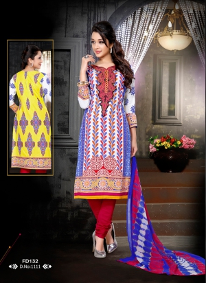 a1939eb00f Buy Fabfirki New Designer Attractive Blue And Red Salwar Suit FD | Cheer  Shopping