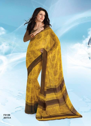 New Designer And Party Wear Yellow And Brown Designer Saree FS126-2073-A