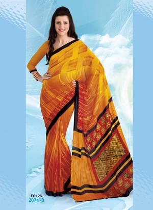 New Designer And Party Wear Yellow And Orange Designer Saree FS126-2074-B
