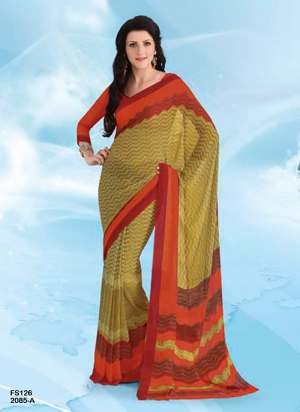 New Designer And Party Wear Orange And Mustard Designer Saree FS126-2085-A