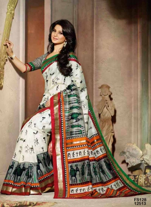 Fabfirki Attractive Grey And White Designer Saree FS128-12513