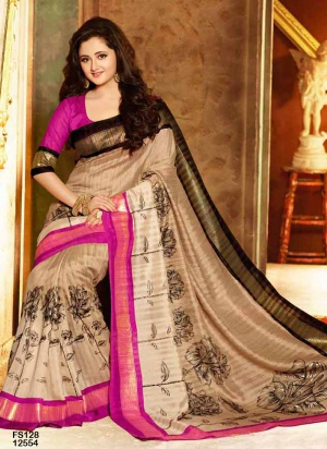 Fabfirki Attractive Pink And Brown Designer Saree FS128-12554
