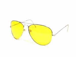 Hd Vision Night Driving Silver Aviator Sunglasses