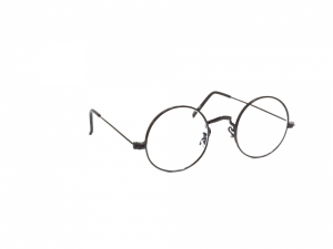 Black Round Gandhi Shape Harry Potter Style Computer Glasses With Anti Glare Coating Large Size