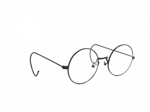 Black Round Gandhi Shape Harry Potter Style With Curl Side Computer Glasses With Anti Glare Coating Large Size